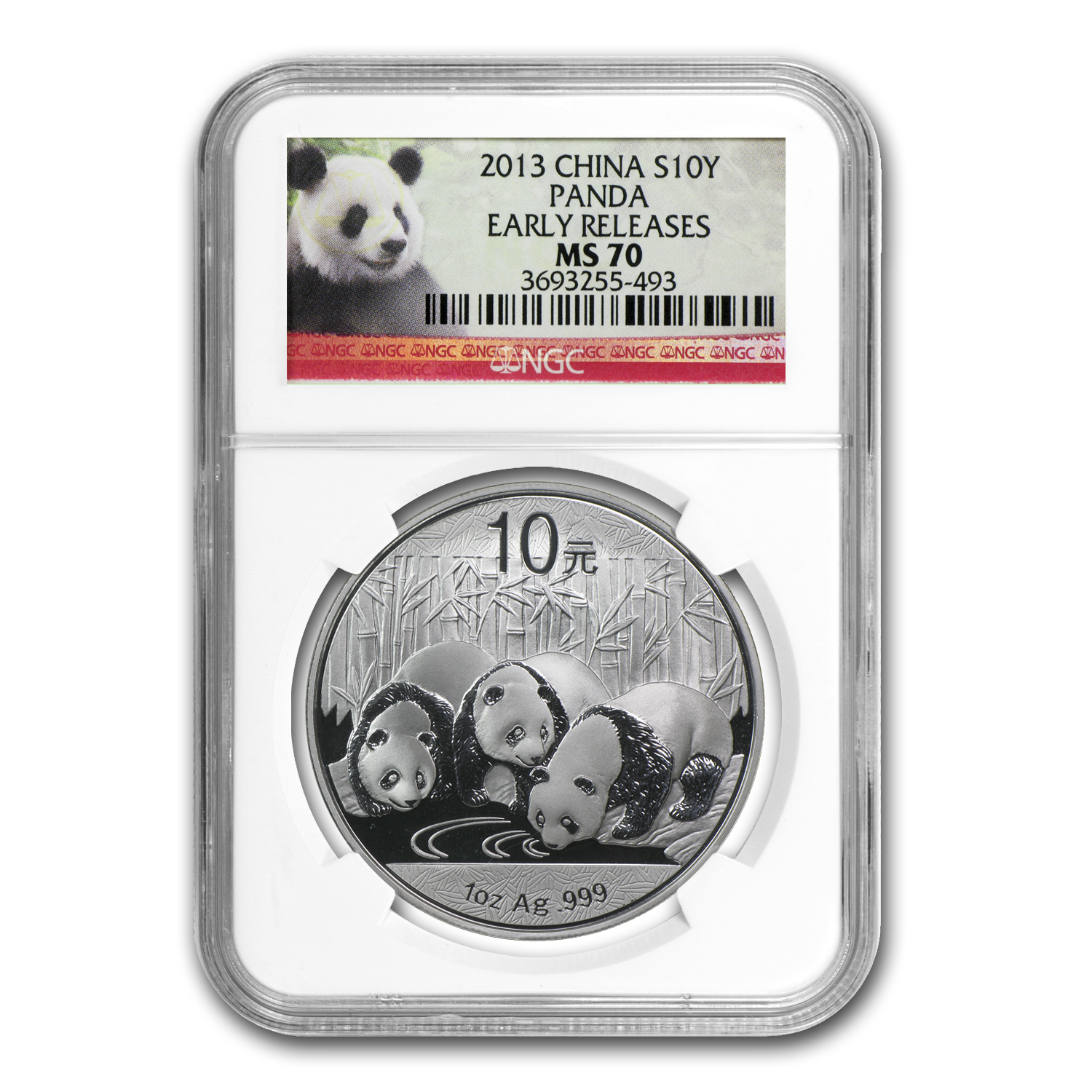 2013 China 1 oz Silver Panda MS-70 NGC (Early Releases)