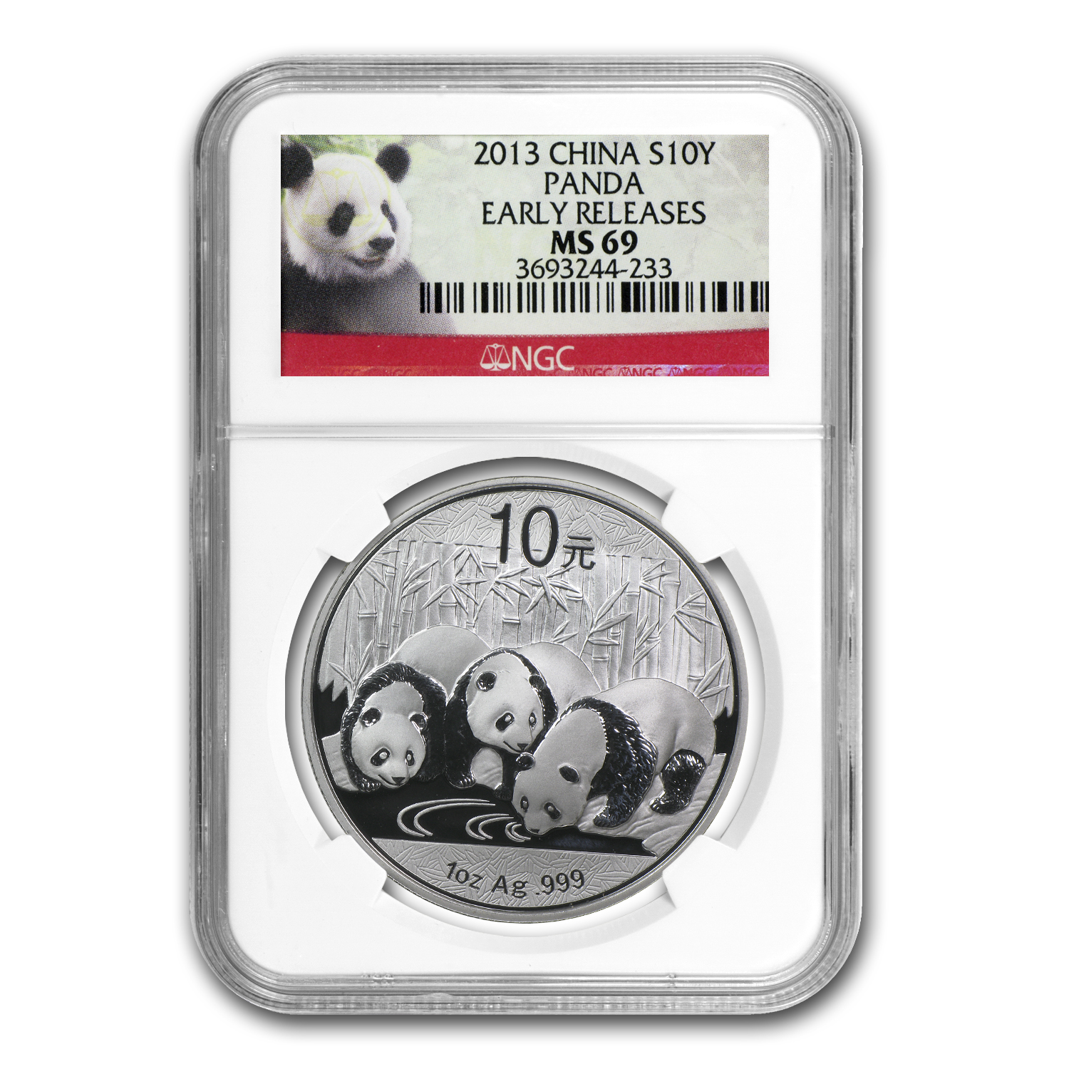 2013 China 1 oz Silver Panda MS-69 NGC (Early Releases)