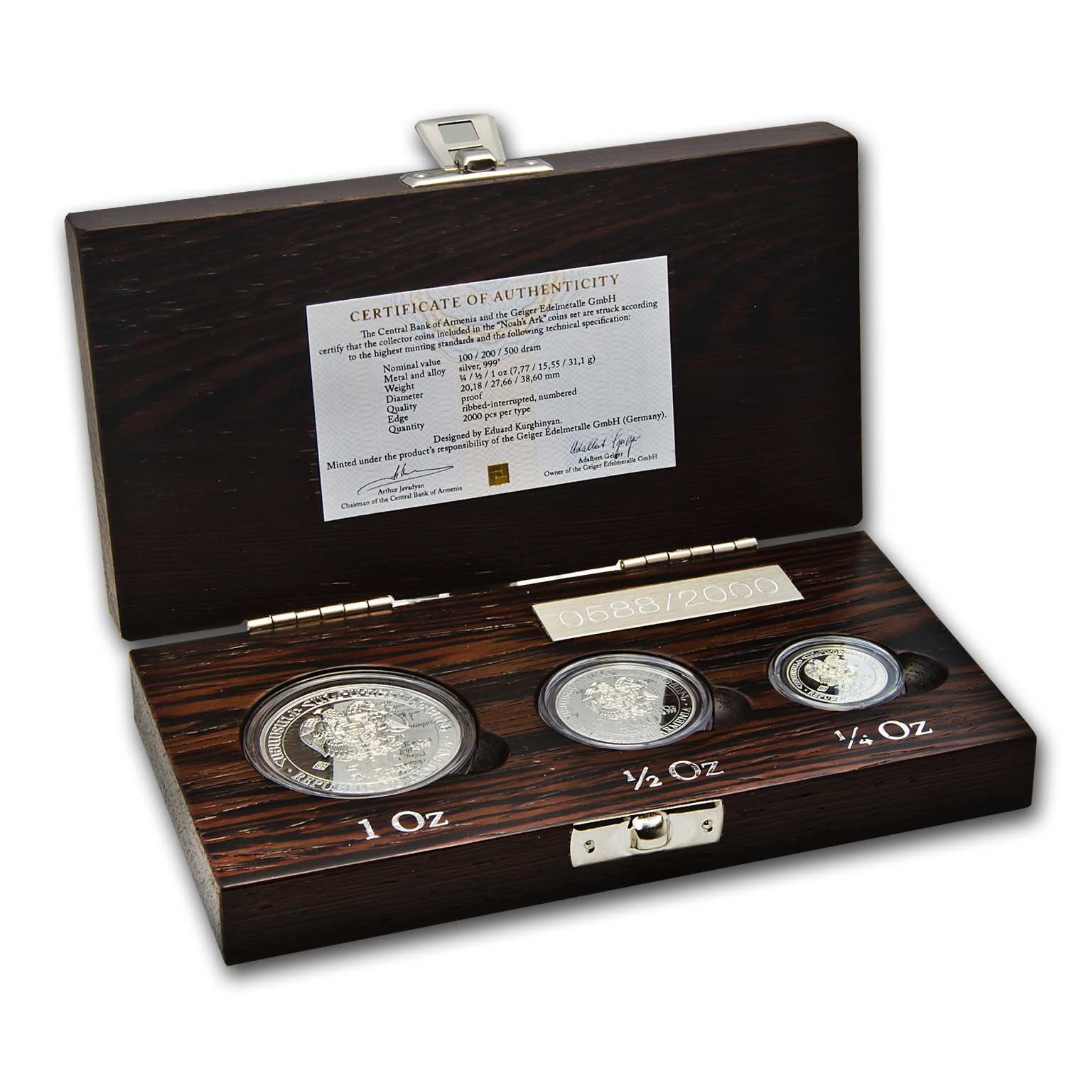 2012 1.75 oz Silver Noah's Ark 3 Coin Set .999 Proof (Box & CoA)