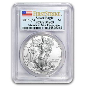 2013 (S) Silver American Eagle MS-69 PCGS (First Strike)