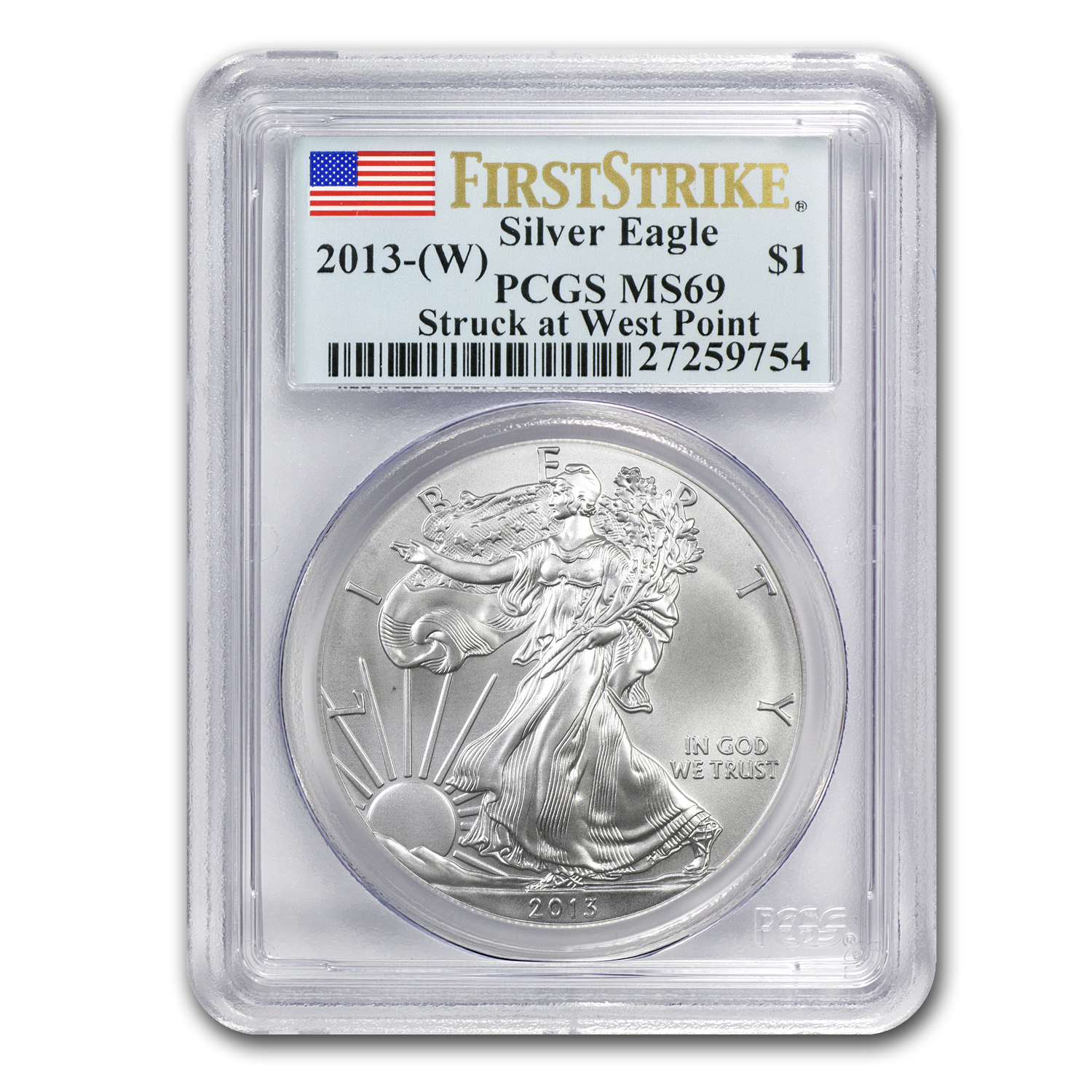 2013 (W) Silver American Eagle MS-69 PCGS (First Strike)