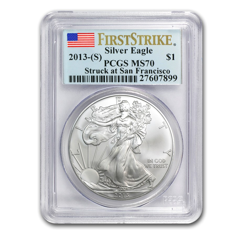 2013 s silver american eagle ms 70 pcgs first strike silver eagles san francisco mint. Black Bedroom Furniture Sets. Home Design Ideas
