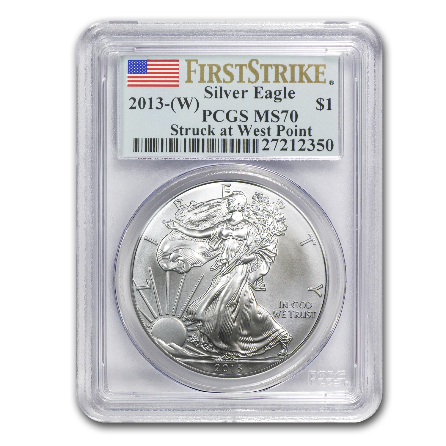 2013 (W) Silver American Eagle MS-70 PCGS (First Strike)