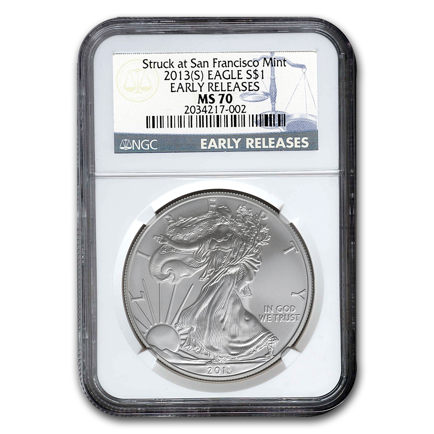 2013 (S) Silver American Eagle MS-70 NGC (Early Releases)