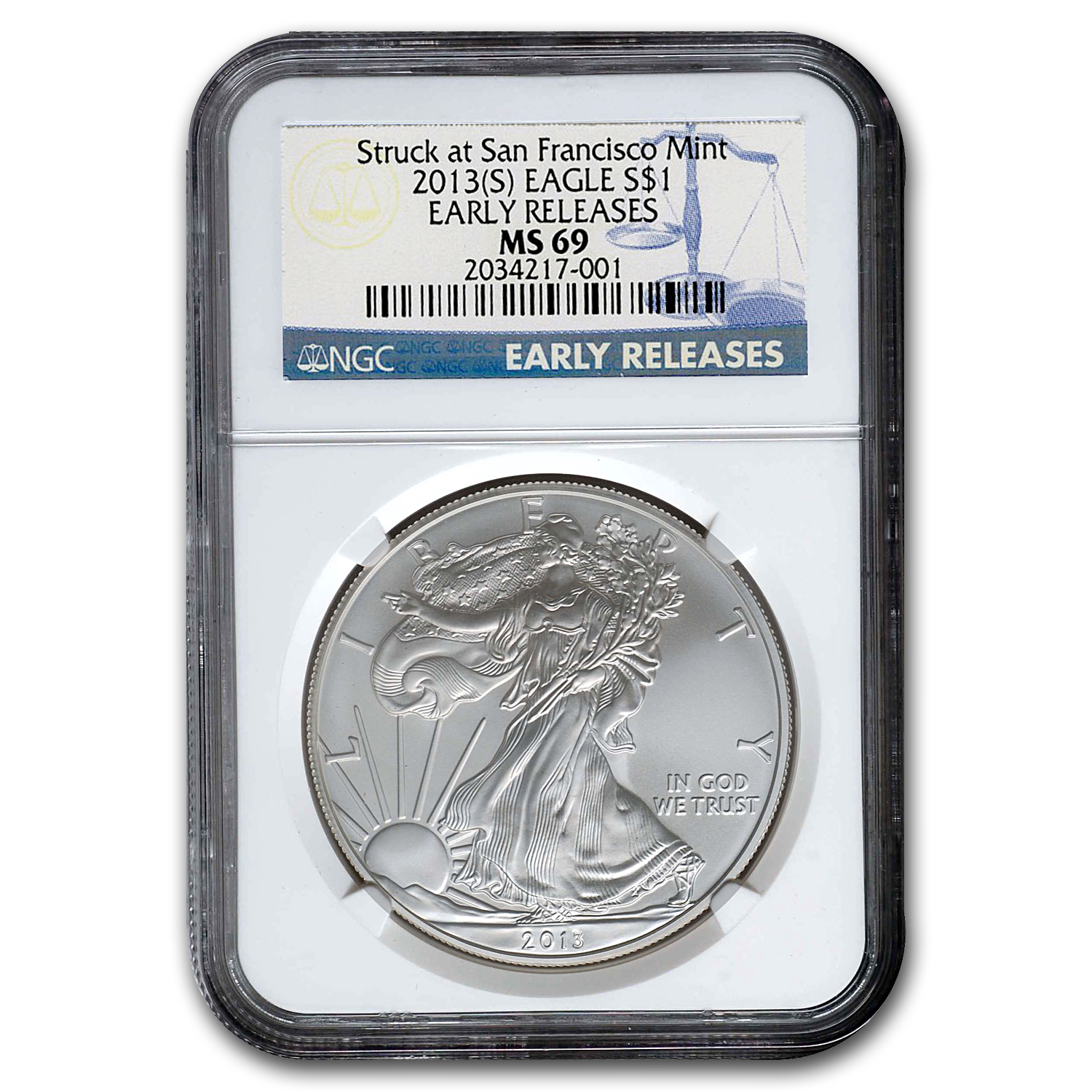 2013 (S) Silver American Eagle MS-69 NGC (Early Releases)