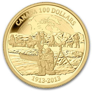 2013 Canada Proof Gold $100 Arctic Expedition 100th Anniv