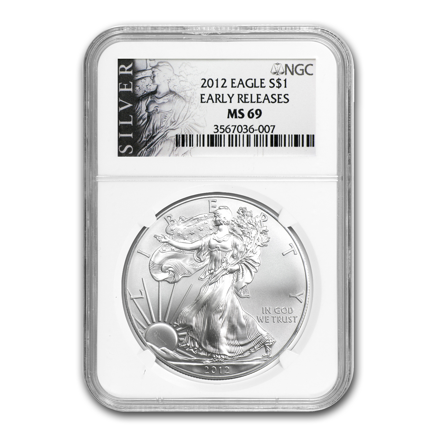 2012 Silver American Eagle MS-69 NGC (ALS Label, Early Release)