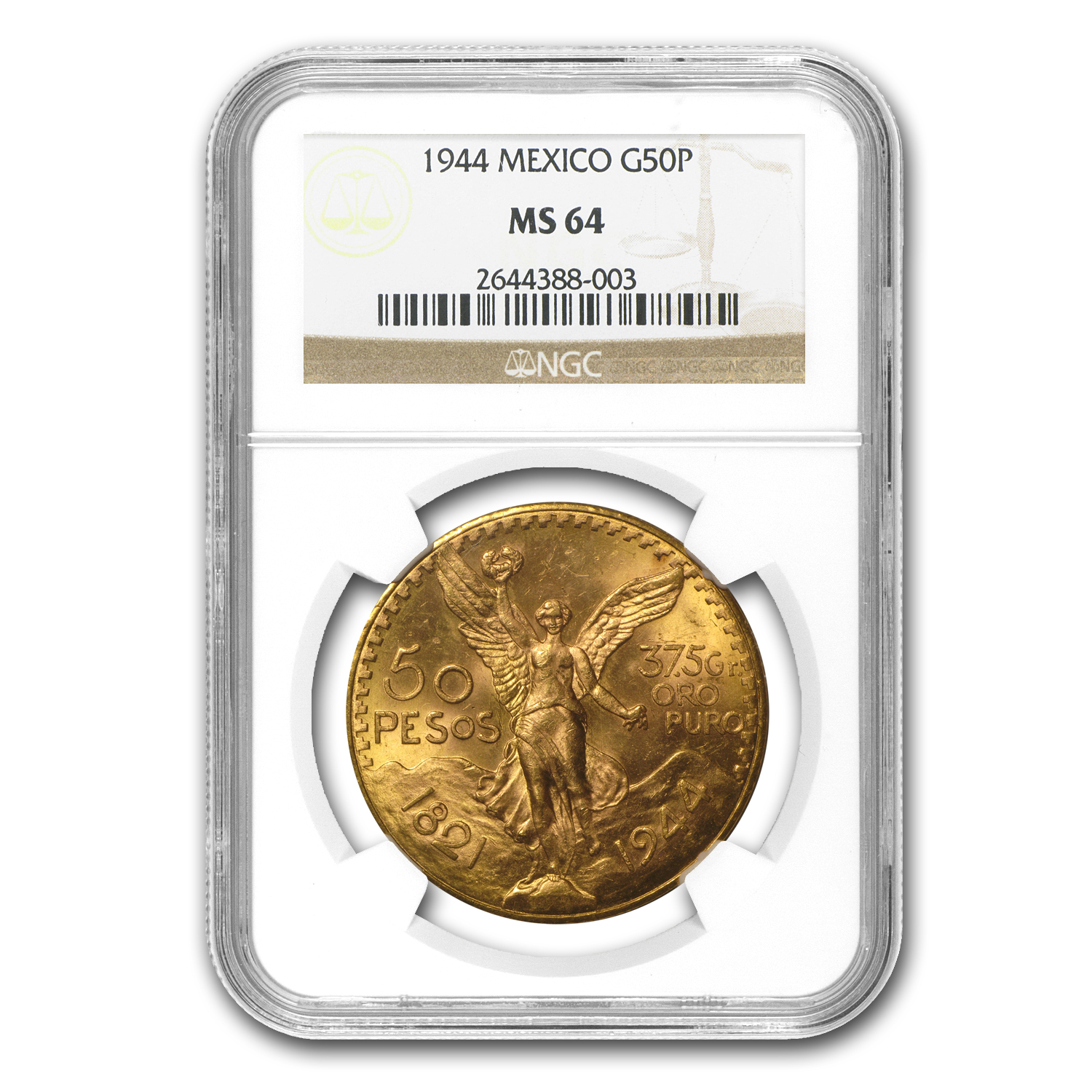 1944 Mexico Gold 50 Pesos MS-64 NGC