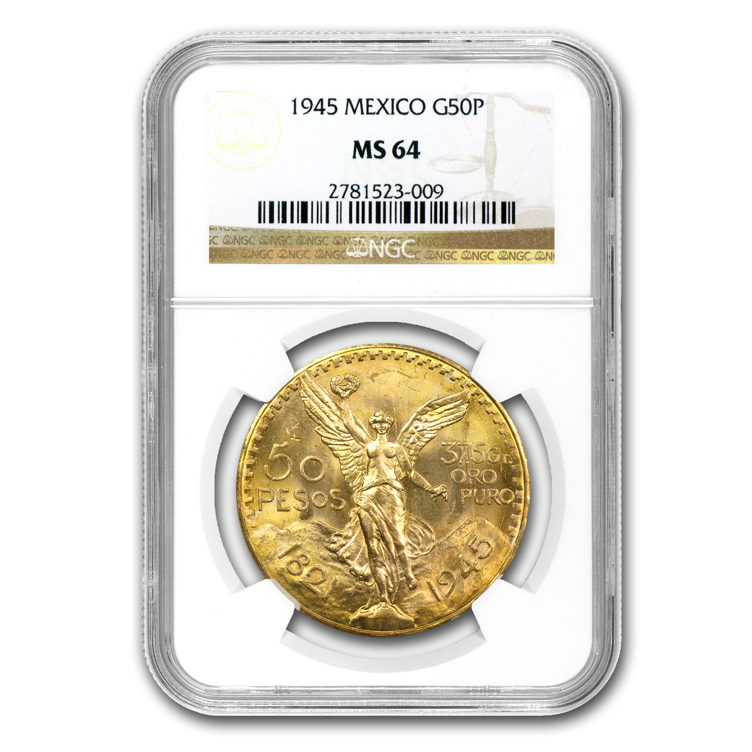 Mexico 1945 50 Pesos Gold Coin - MS-64 NGC