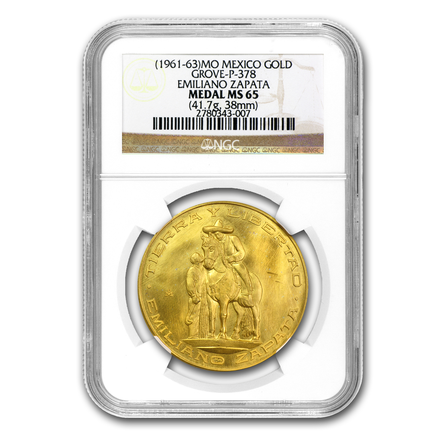 (1961-63) Mexico Gold Emiliano Zapata Medal MS-65 NGC