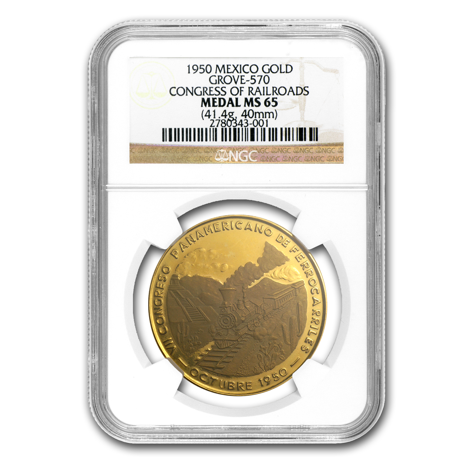 1950 Mexico Gold Congress of Railroads Medal MS-65 NGC