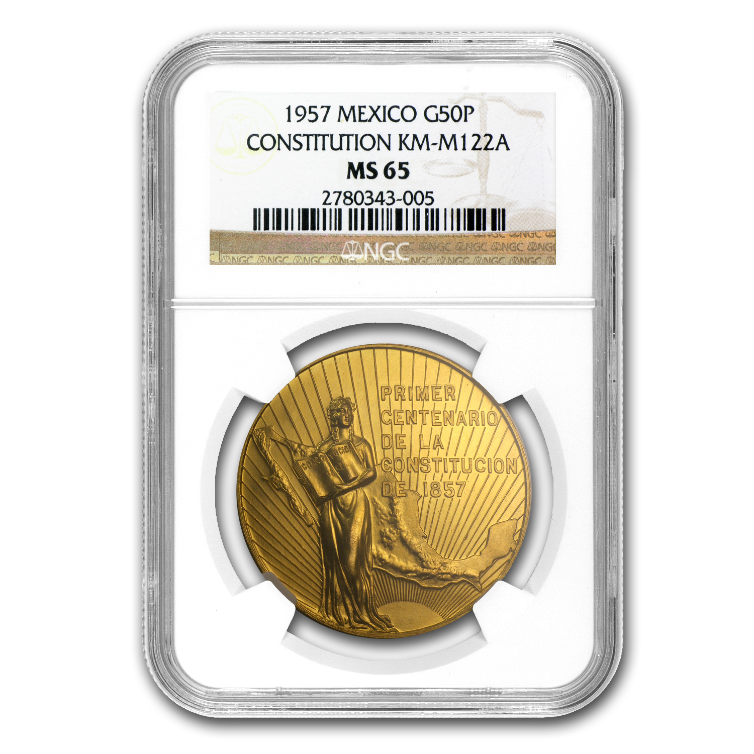 1957 Mexico Centennial of Constitution Medal MS-65 NGC