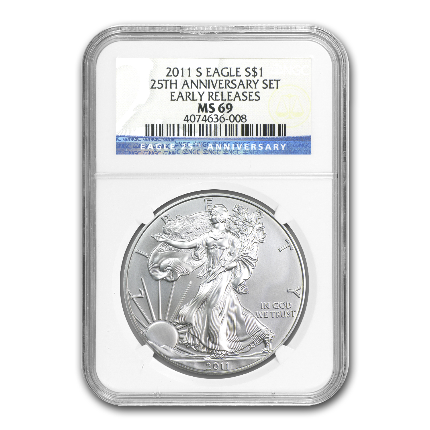2011-S Silver American Eagle MS-69 NGC (ER, 25th Anniv)