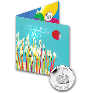 2013 Birthday 5-Coin Gift Set With Cake Quarter & Card - RCM