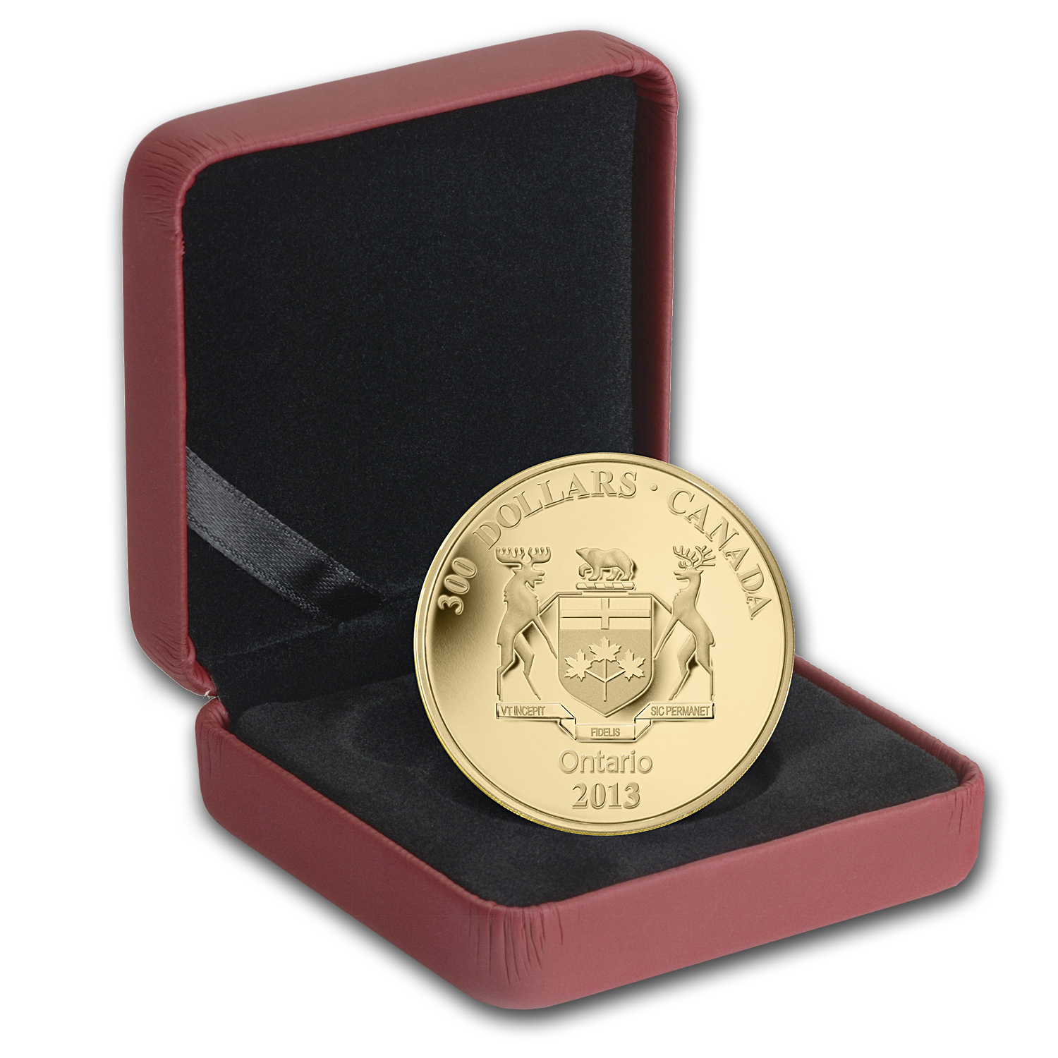 2013 1.125 oz Gold Canadian $300 Coin - Ontario Coat of Arms