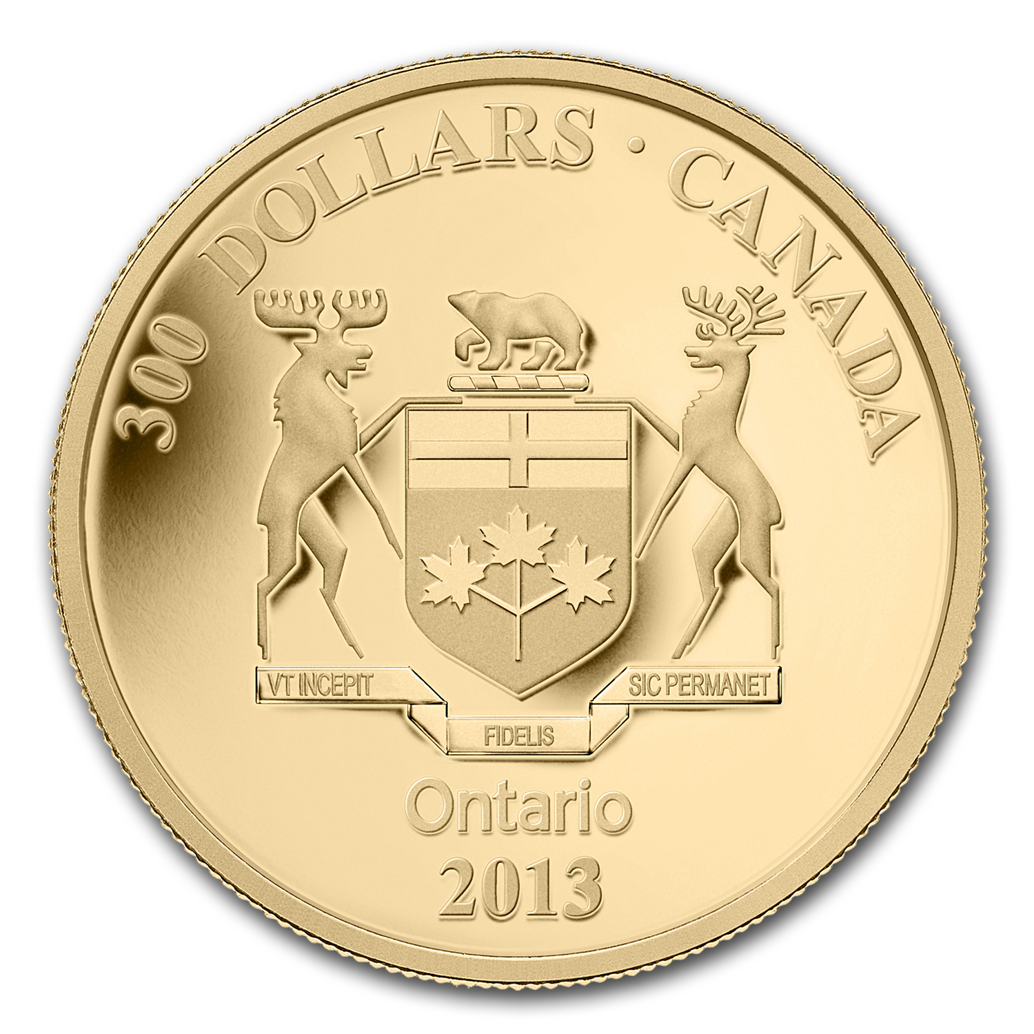 2013 1.125 oz Gold Canadian $300 Ontario Coat of Arms Proof