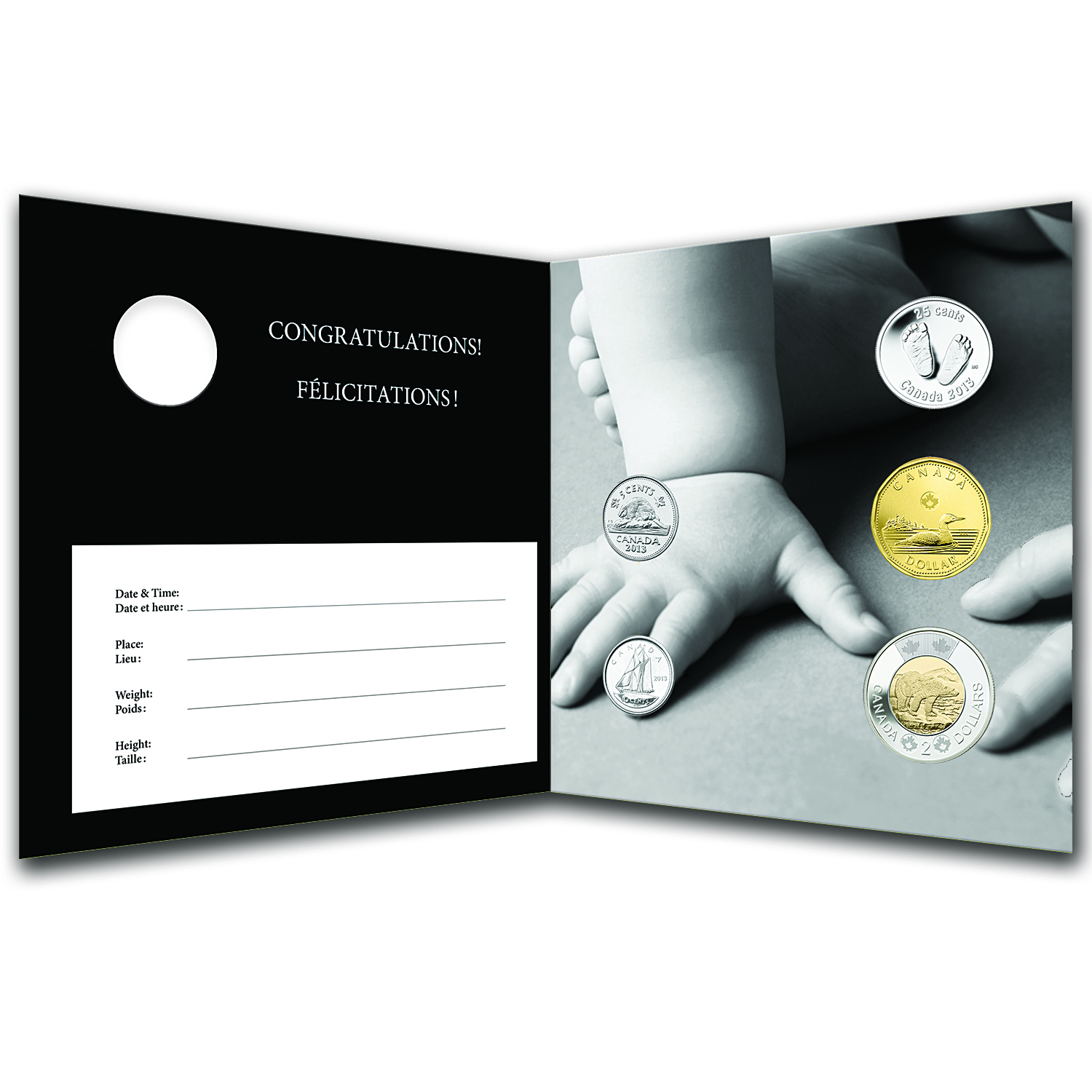 2013 Newborn Baby 5-Coin Gift Set W/Footprint Quarter & Card- RCM