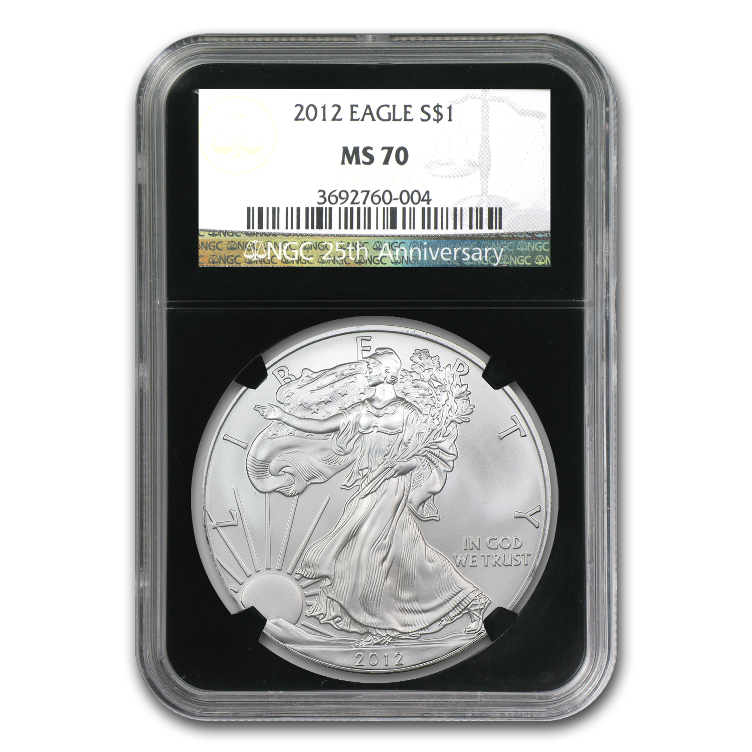 2012 Silver American Eagle MS-70 NGC (Retro Black Insert)