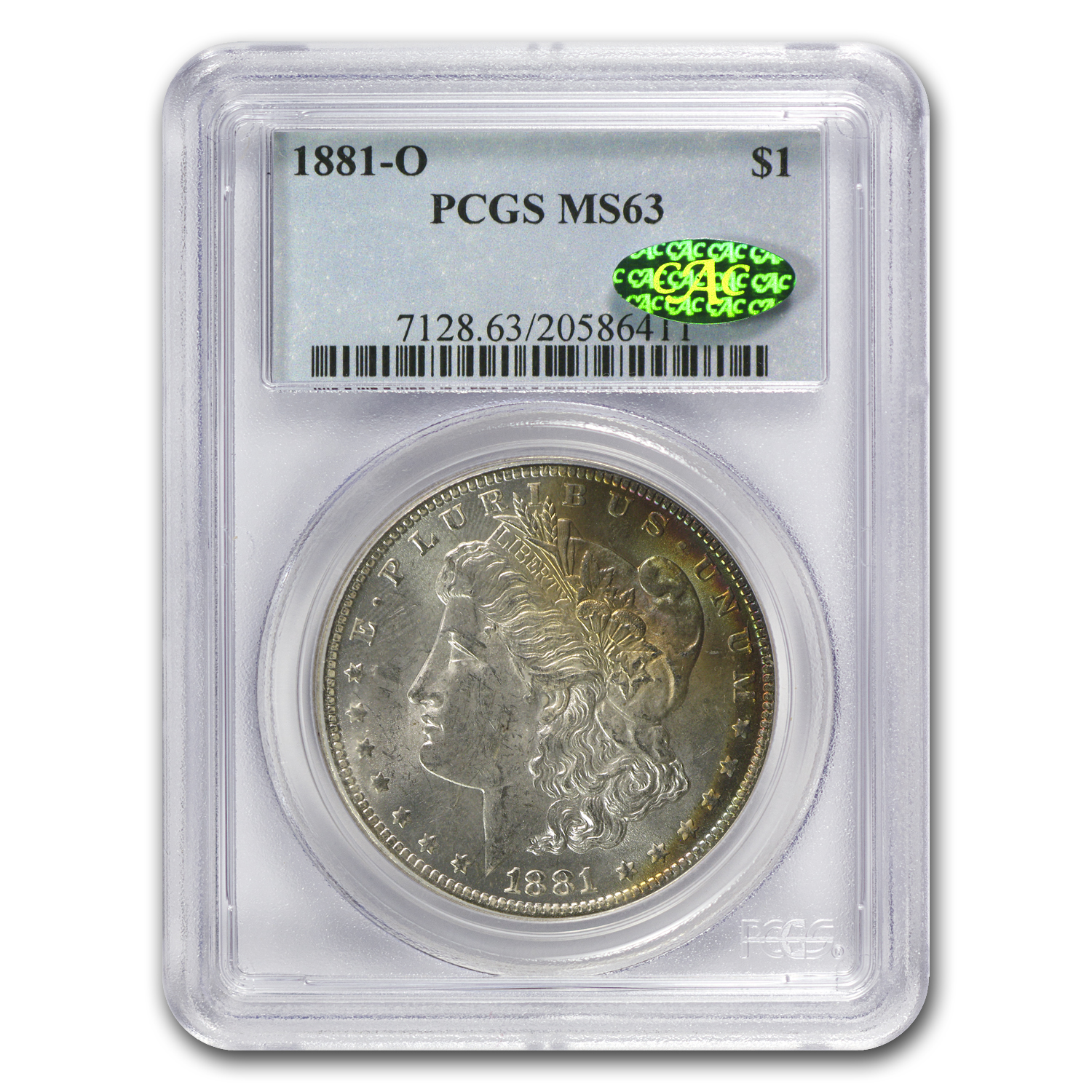 1881-O Morgan Dollar MS-63 PCGS (CAC, Nice Toning)