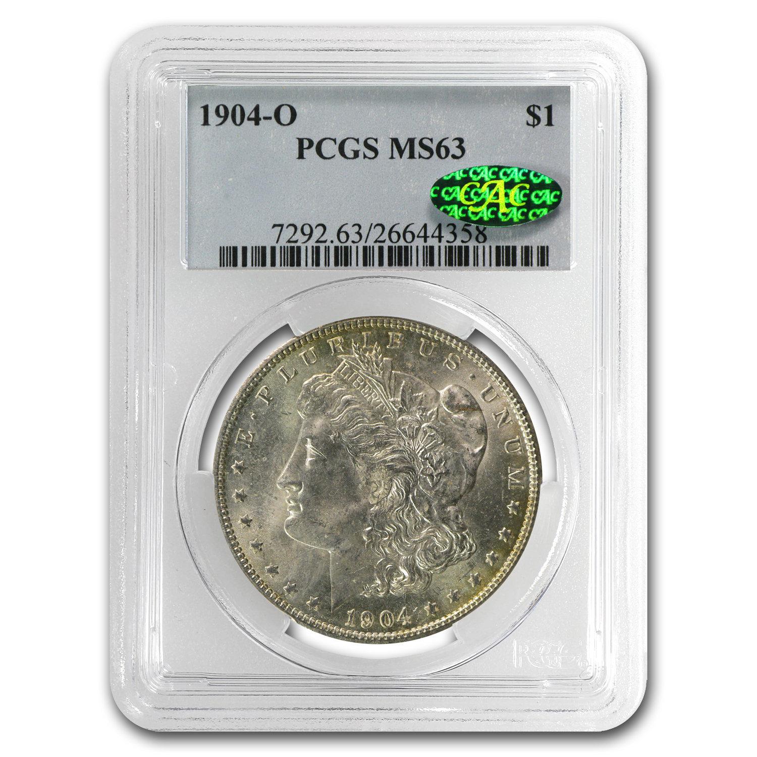 1904-O Morgan Dollar MS-63 PCGS - Nice Toning - CAC