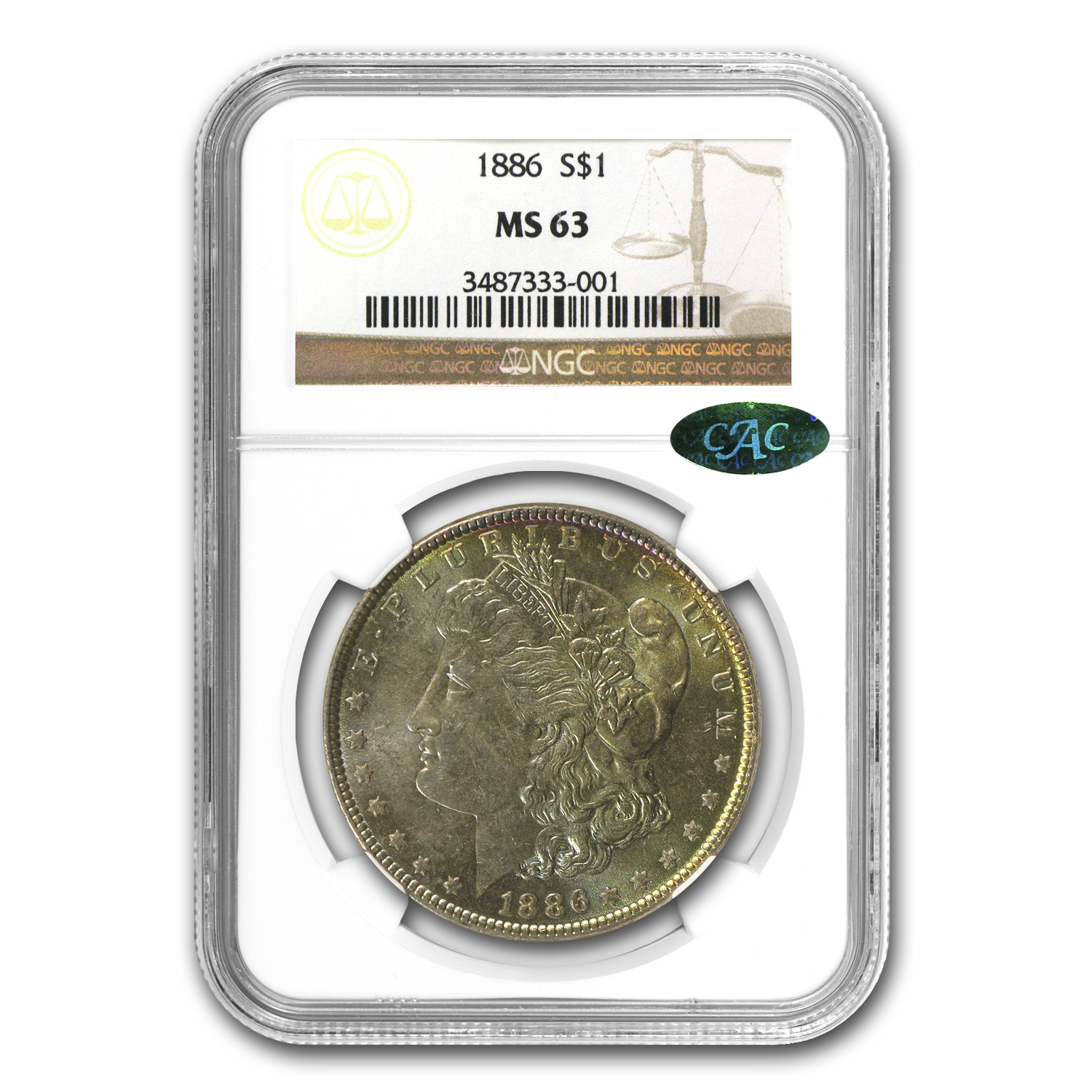 1886 Morgan Dollar MS-63 NGC (Nice Toning, CAC)
