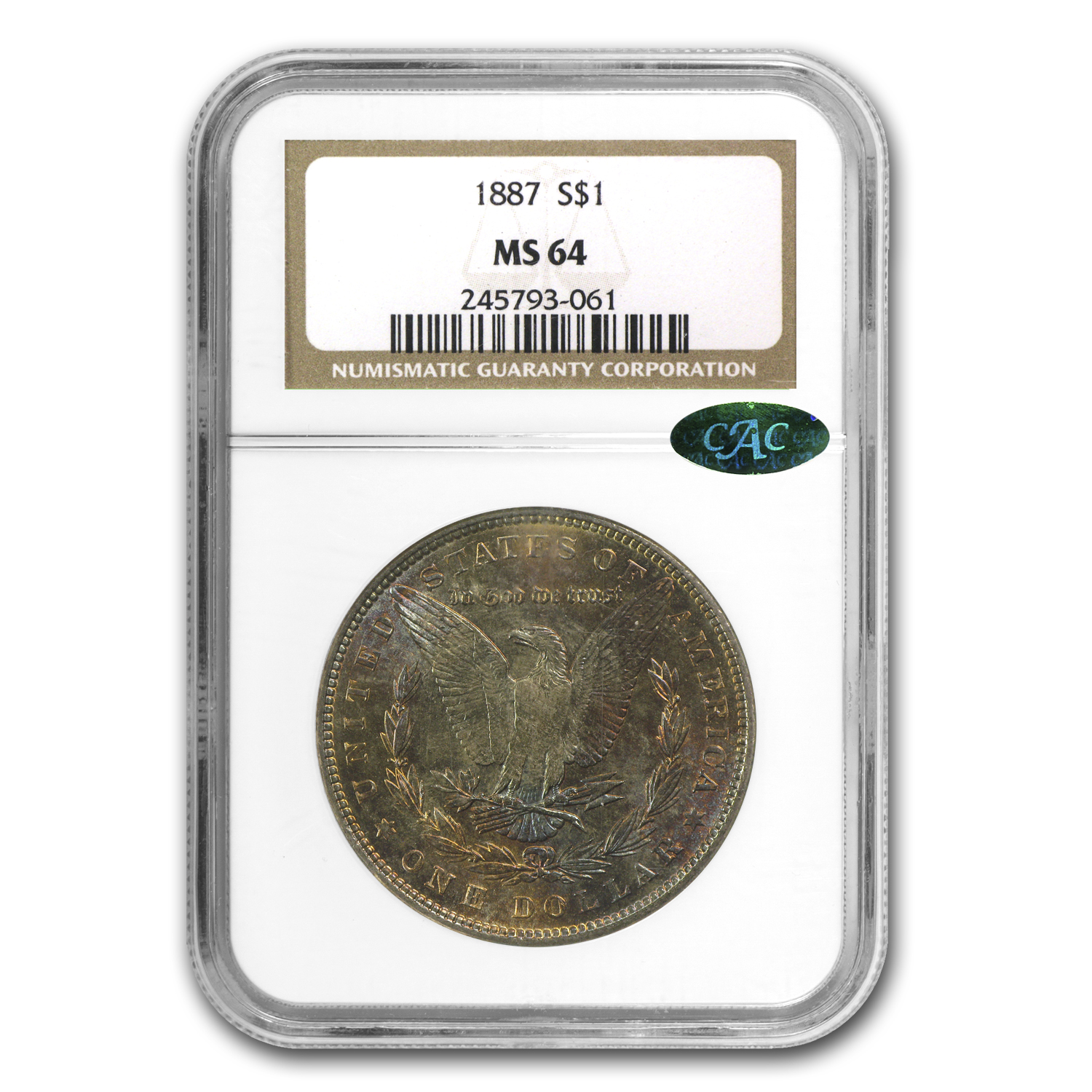 1887 Morgan Dollar MS-64 NGC (CAC, Nice Toning)