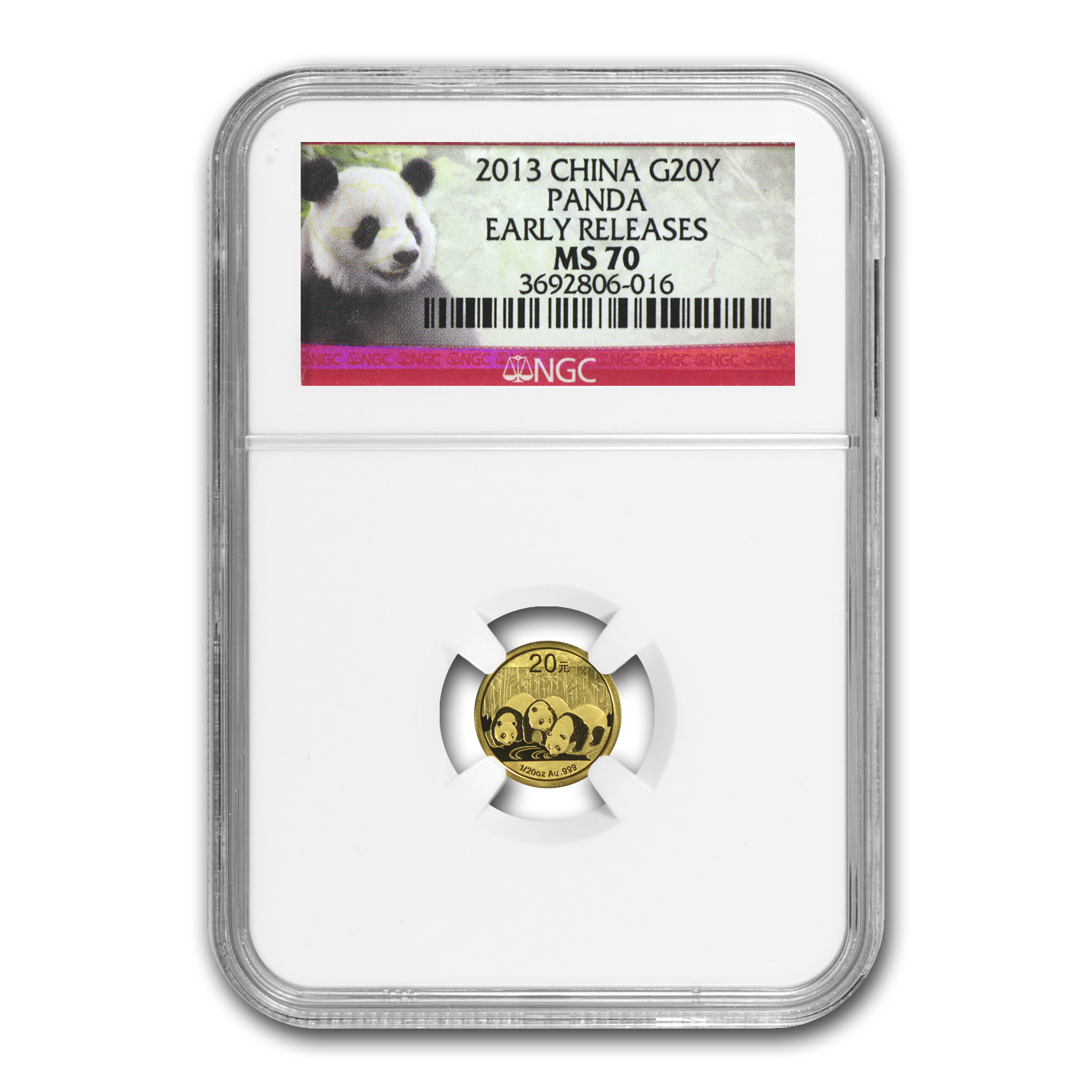 2013 (1/20 oz) Gold Chinese Panda - MS-70 NGC Early Releases
