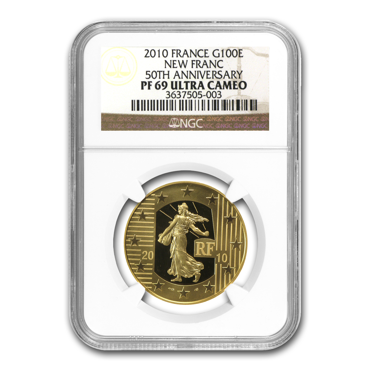 2010 1/2 oz Proof Gold The Sower 50th Anniv Franc PF-69 NGC