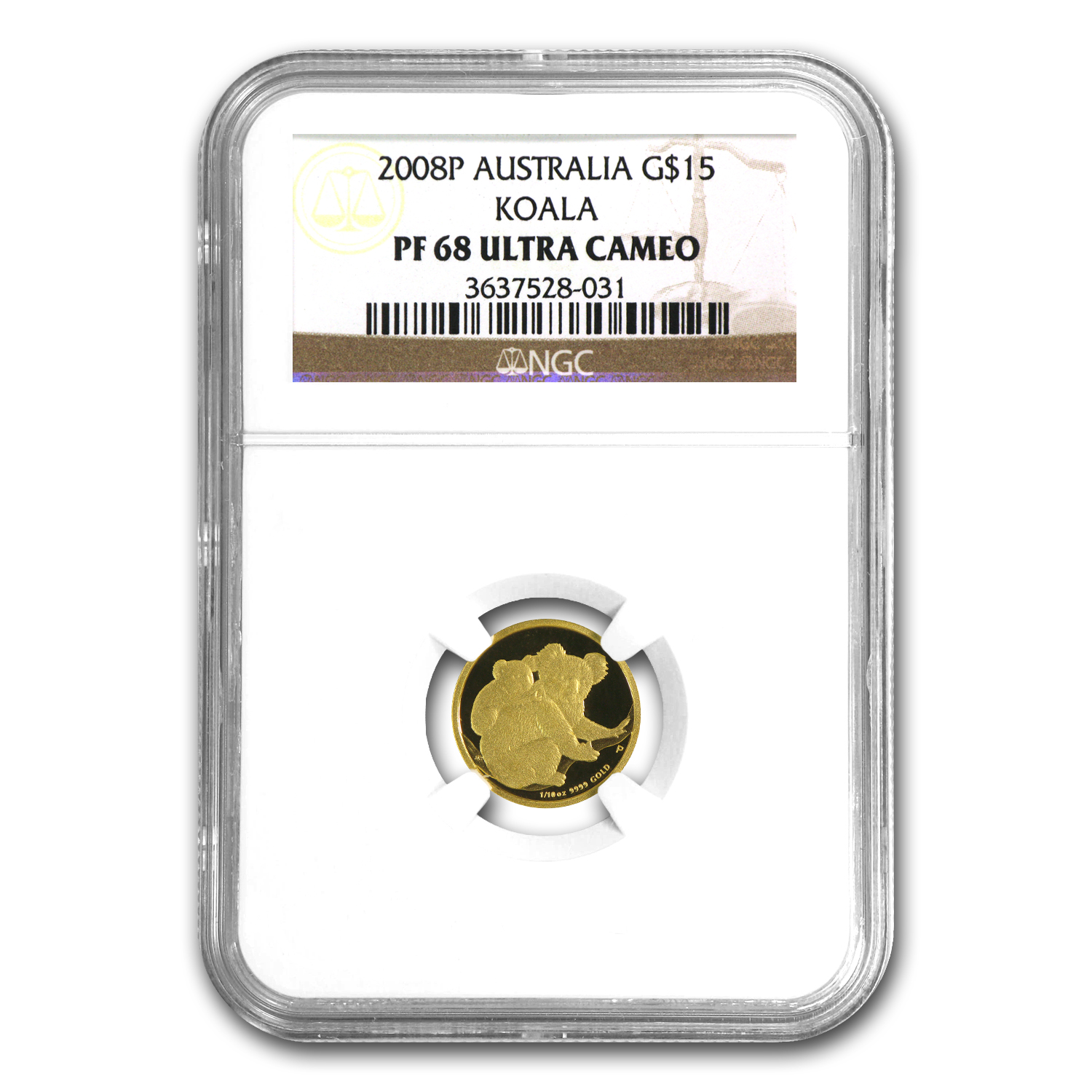 2008 1/10 oz Proof Gold Koala NGC PF-68 UCAM