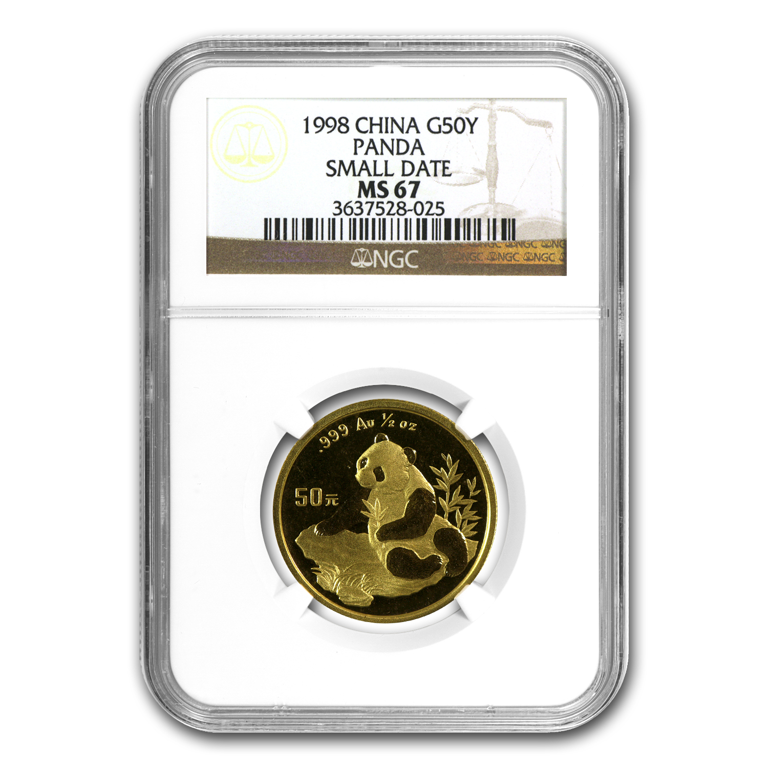 1998 China 1/2 oz Gold Panda Small Date MS-67 NGC