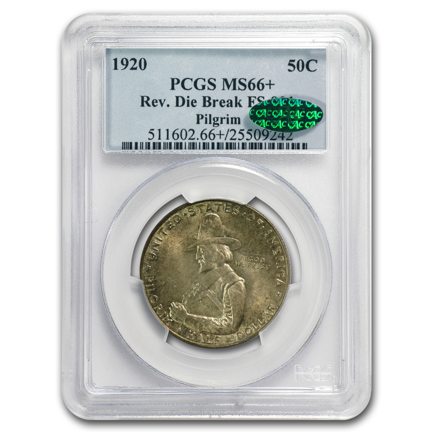 1920 Pilgrim Half Dollar MS-66+ PCGS (CAC, Die Break Variety)