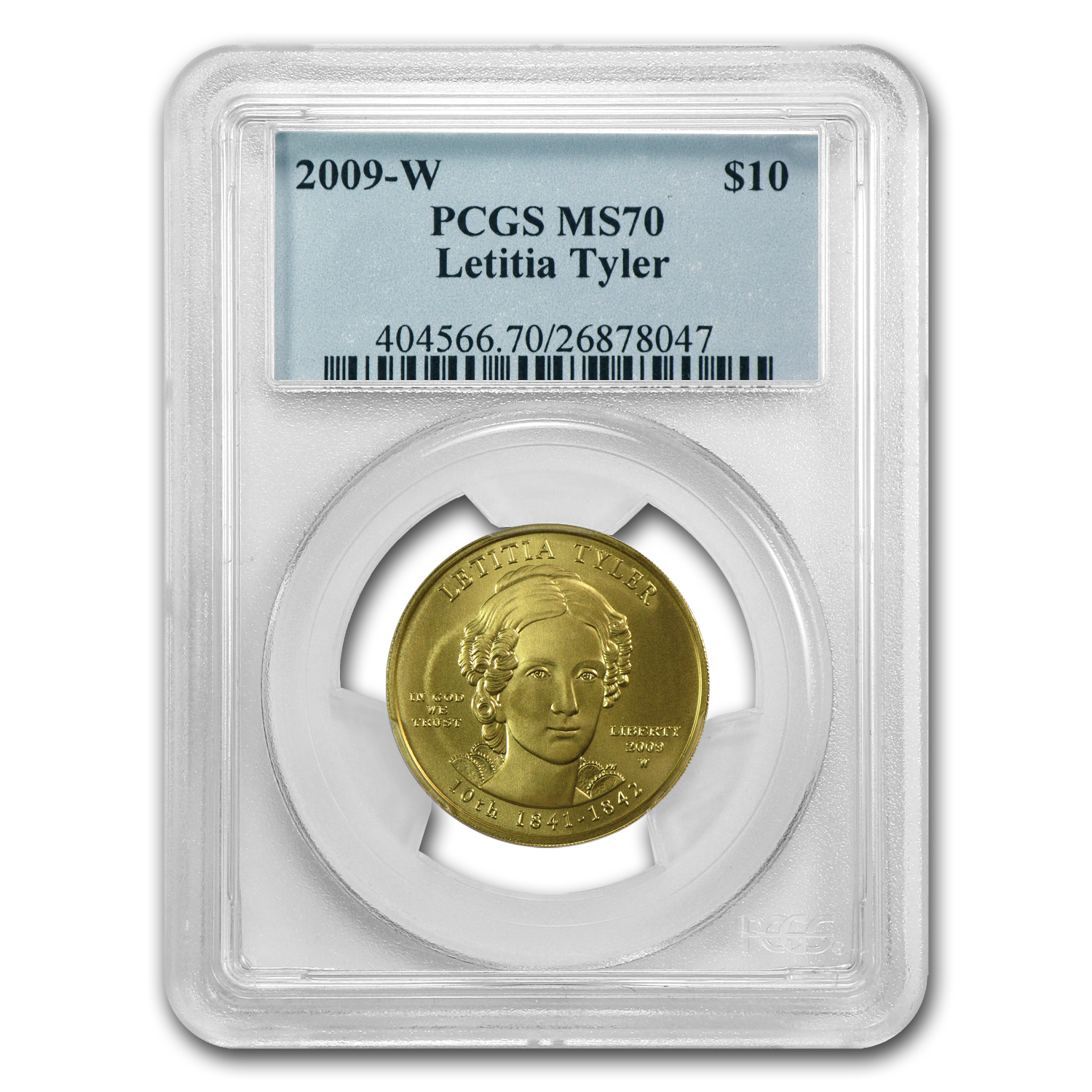2009-W 1/2 oz Gold Letitia Tyler MS-70 PCGS