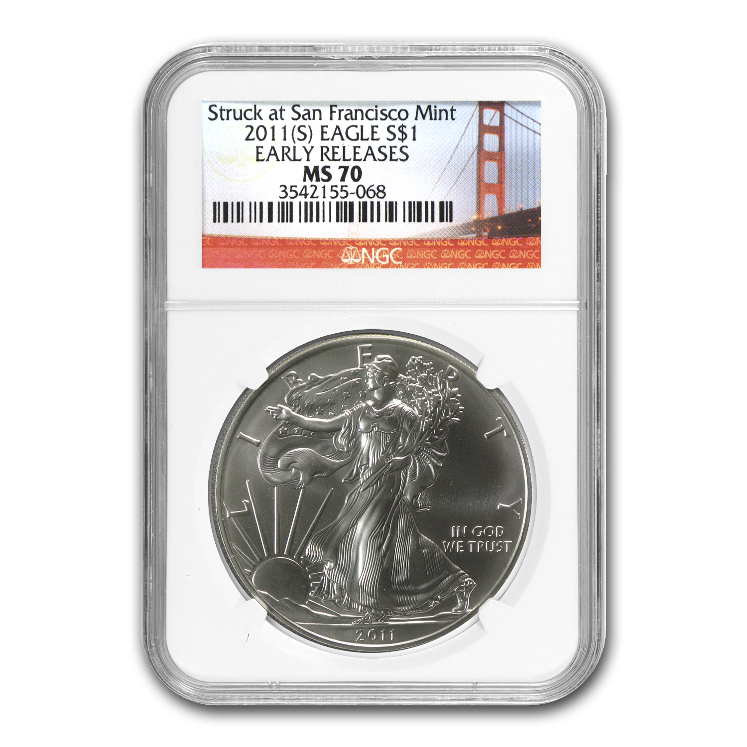 2011 (S) Silver American Eagle MS-70 NGC (ER, Golden Gate)