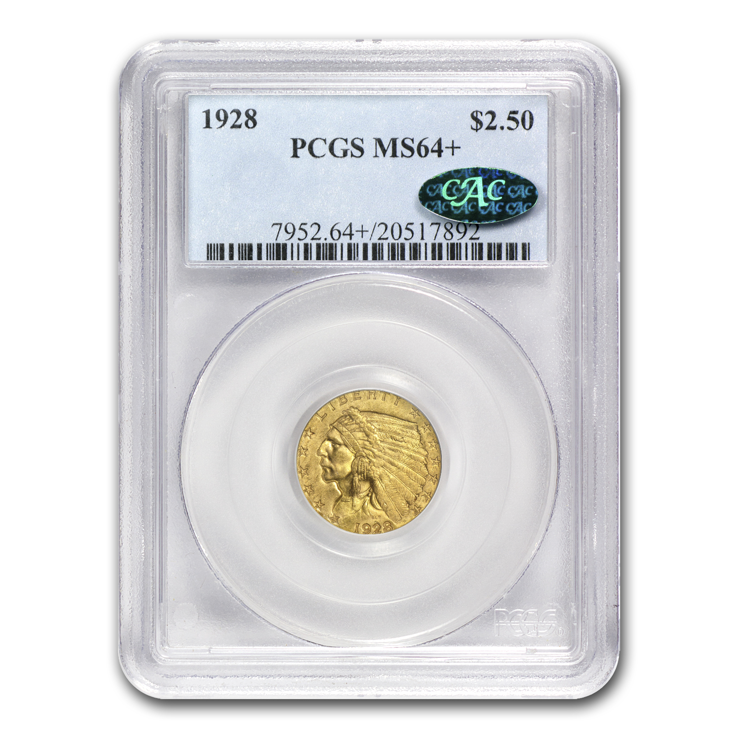 1928 $2.50 Indian Gold Quarter Eagle MS-64+ PCGS (CAC)