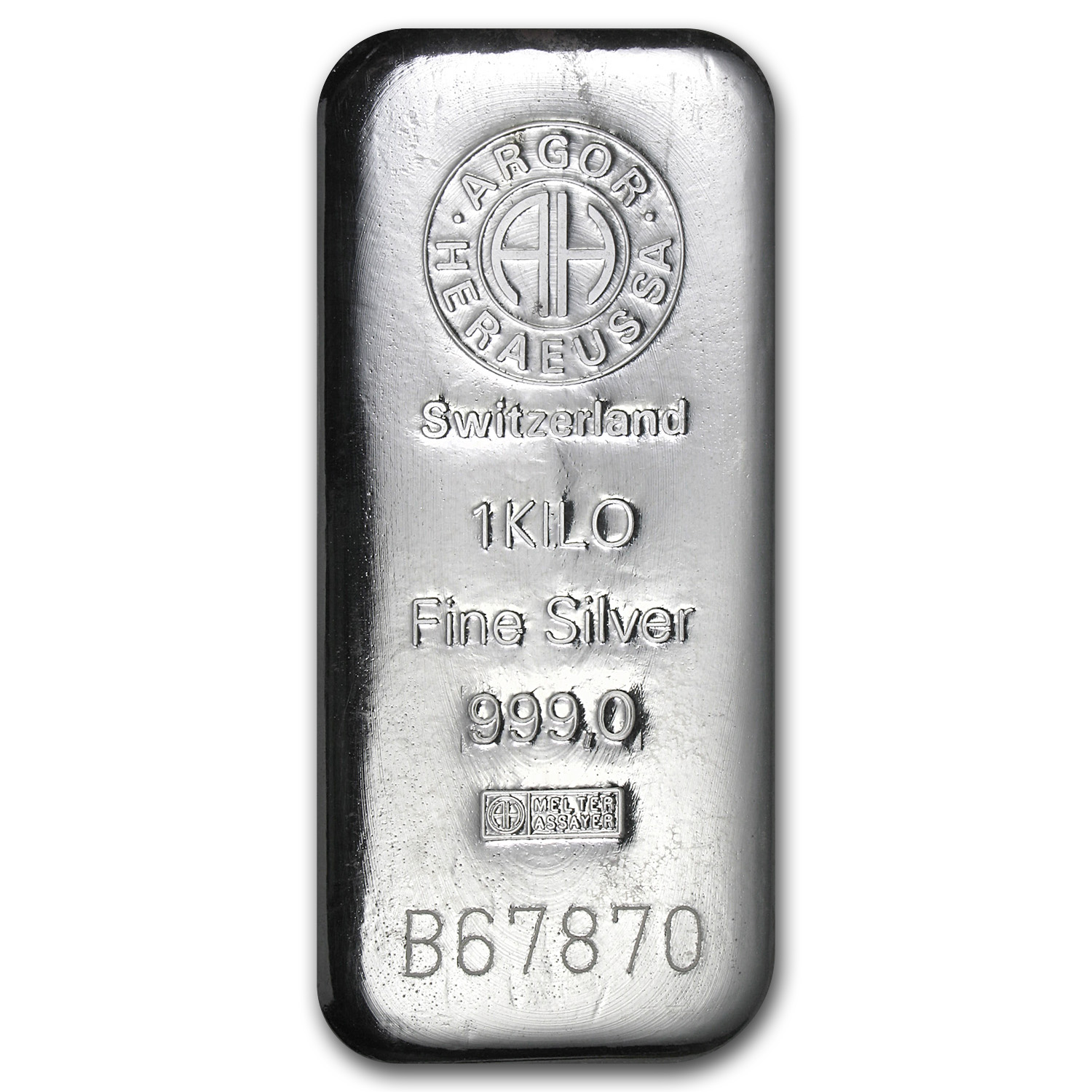1 Kilo Silver Bars - Argor/Heraeus (Switzerland)