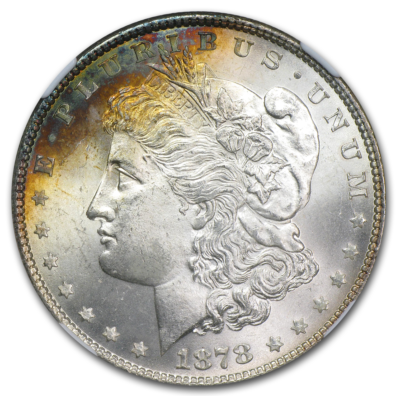 1878 Morgan Dollar 7 TF Rev of 78 MS-65 NGC (Toning)