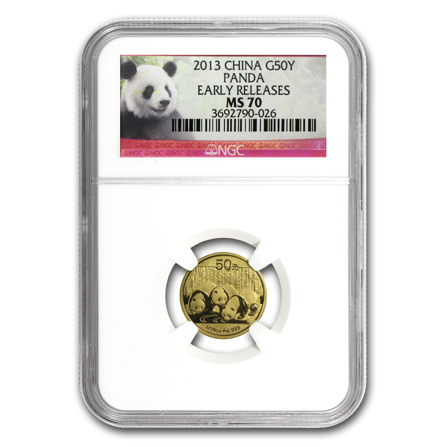 2013 China 1/10 oz Gold Panda MS-70 NGC (Early Releases)