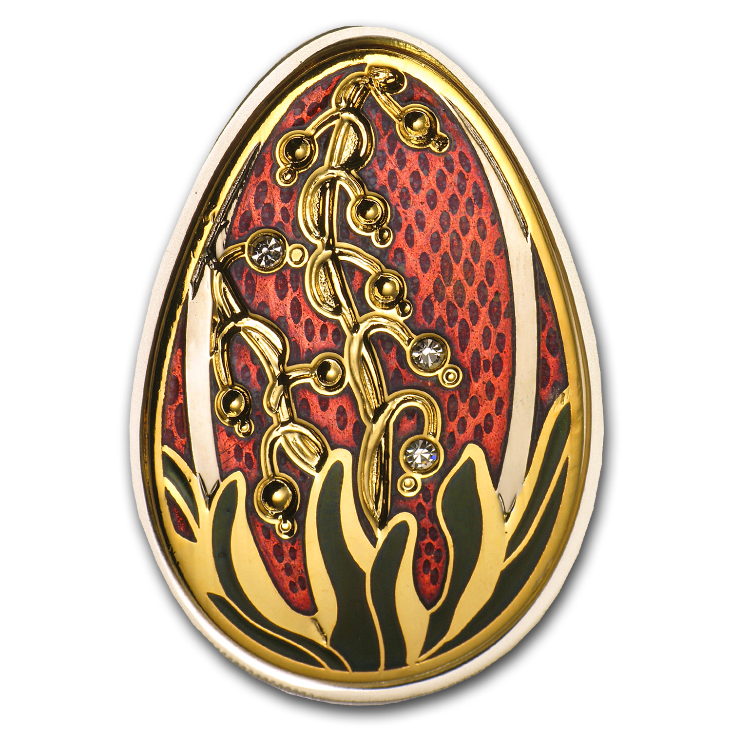 2013 Cook Islands Silver Imperial Egg in Cloisonné Beauty in Red