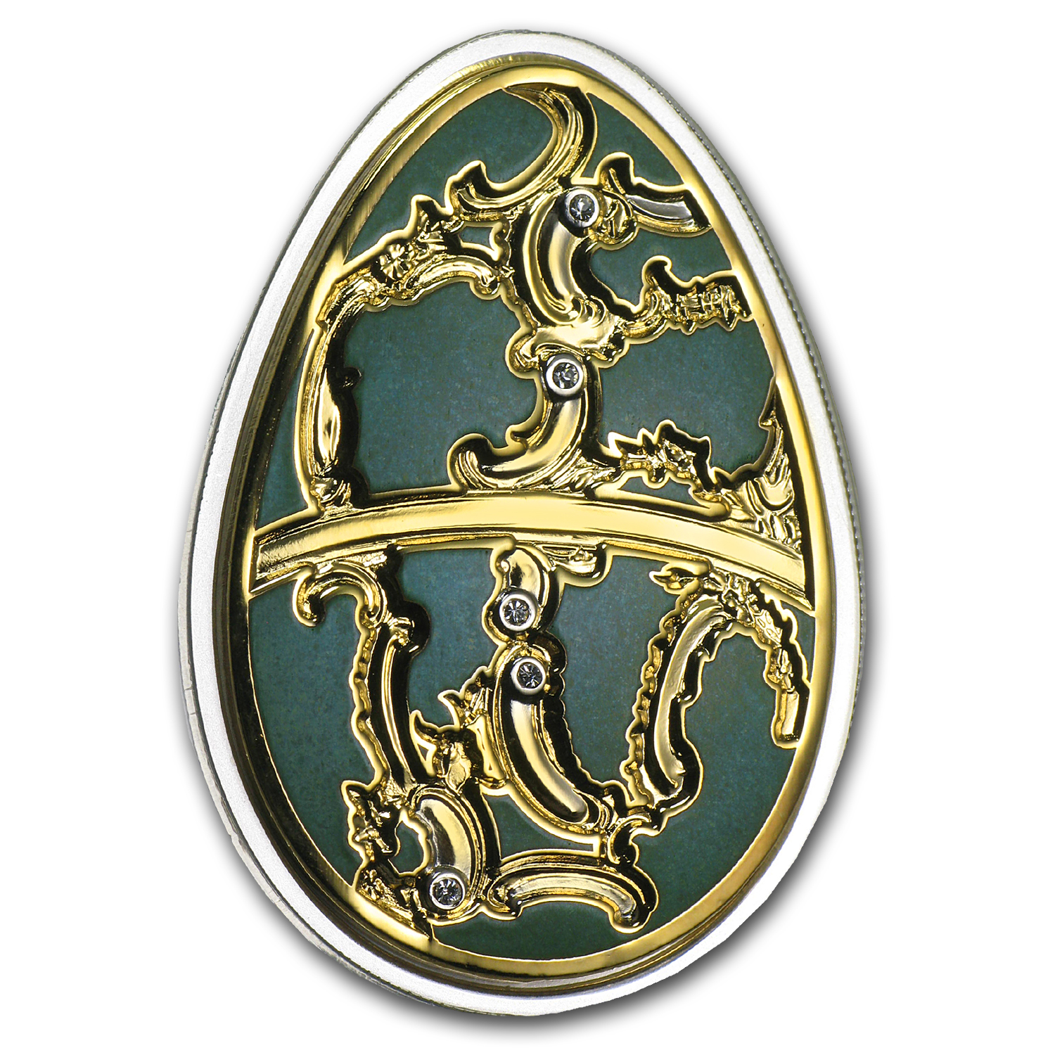 Cook Islands 2013 Silver Proof Imperial Egg in Cloisonné - Olive