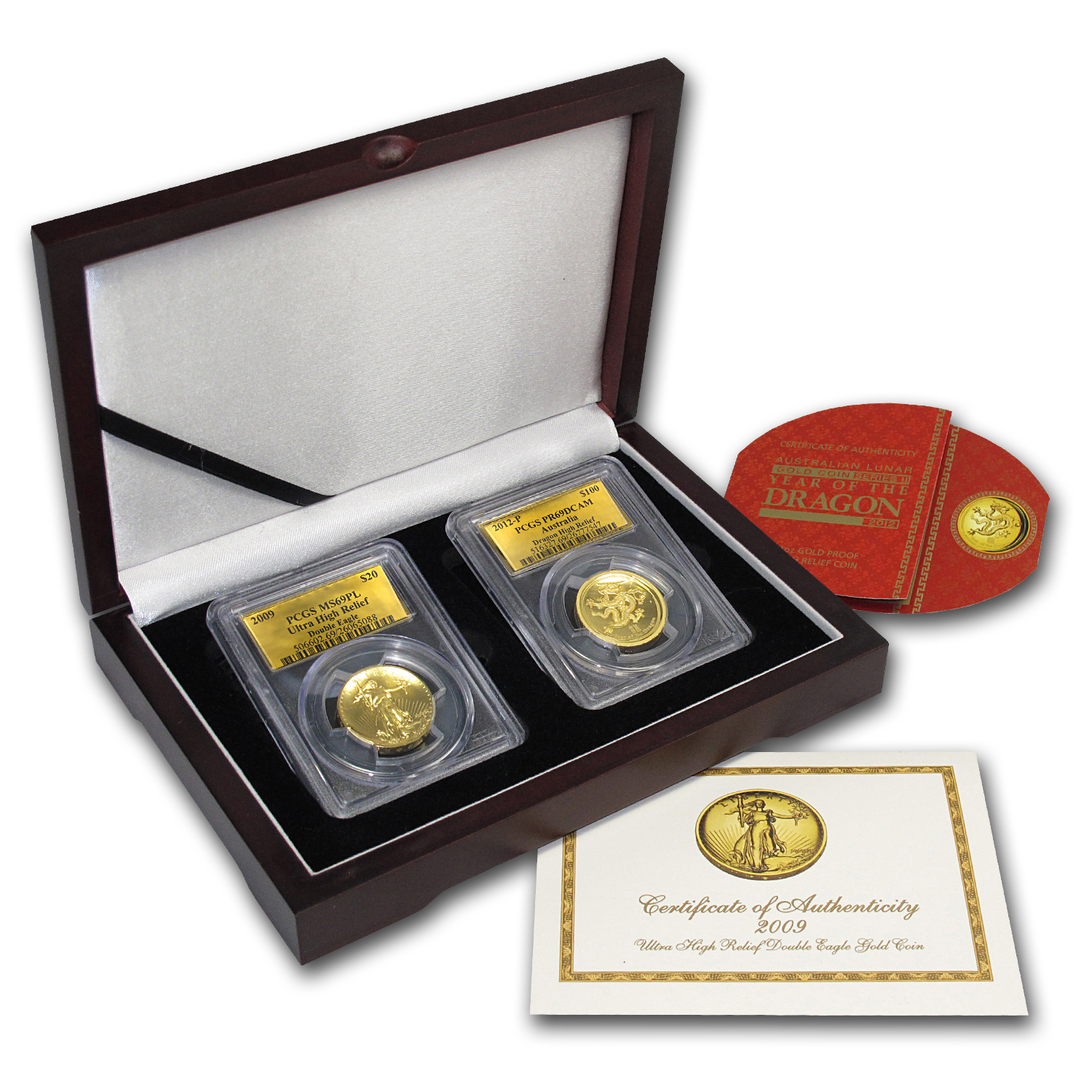 2009 2-Coin UHR Double Eagle & 2012 HR Dragon Set MS-69 PL/PR-69