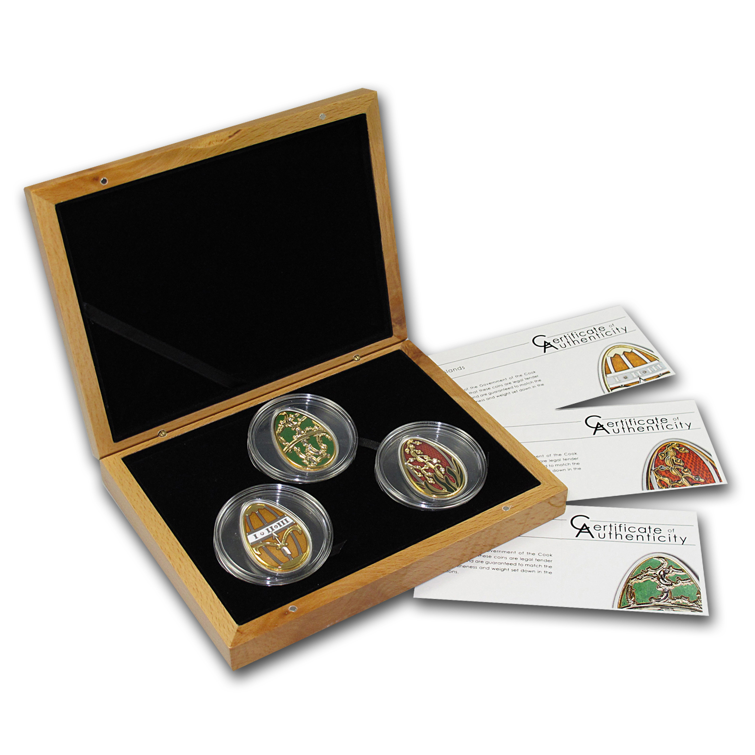 2013 Cook Islands 3-Coin Silver Imperial Eggs in Cloisonné Set