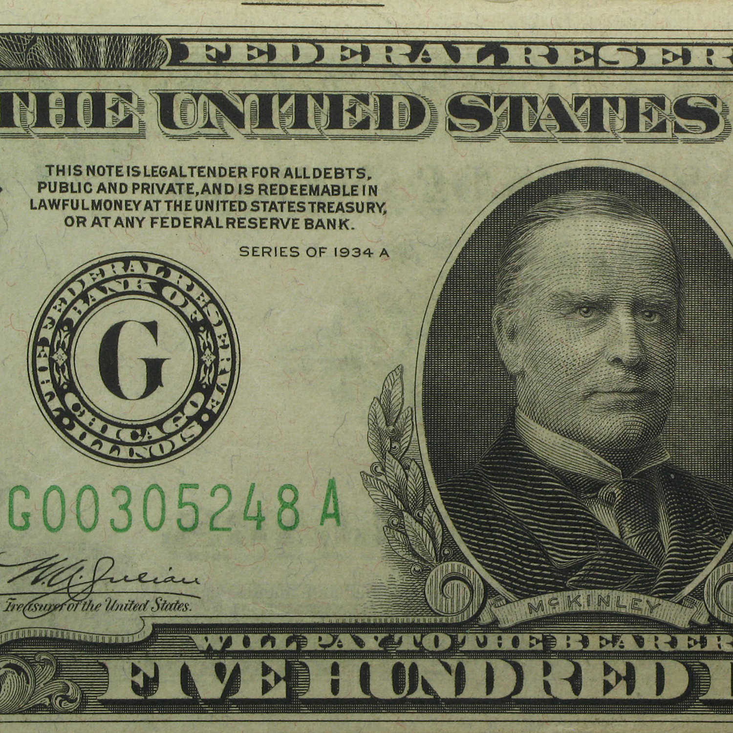 1934-A (G-Chicago) $500 FRN (Extra Fine)