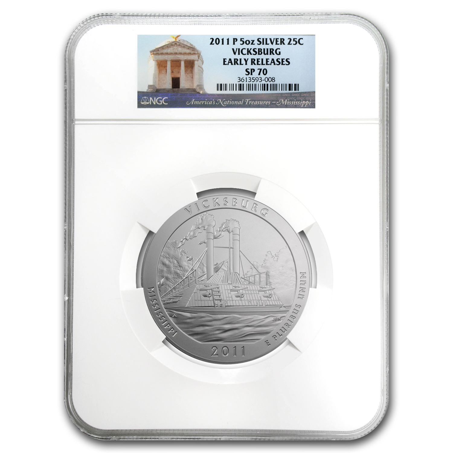 2011-P 5 oz Silver ATB Vicksburg SP-70 NGC (Early Release)