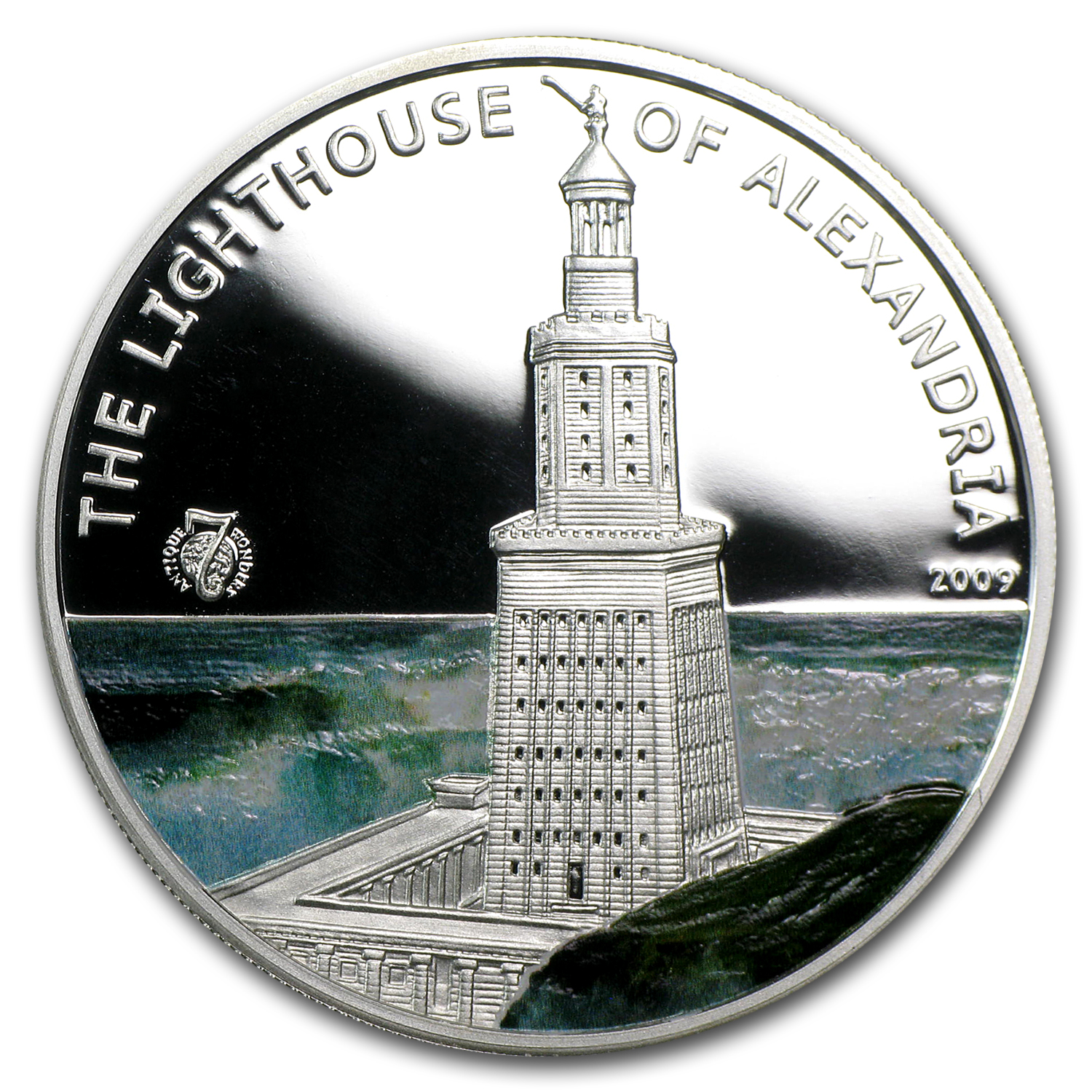 2009 Palau Silver $5 World of Wonders Lighthouse of Alexandria