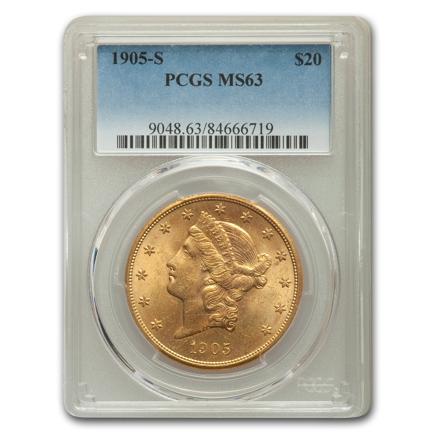 1905-S $20 Gold Liberty Double Eagle MS-63 PCGS