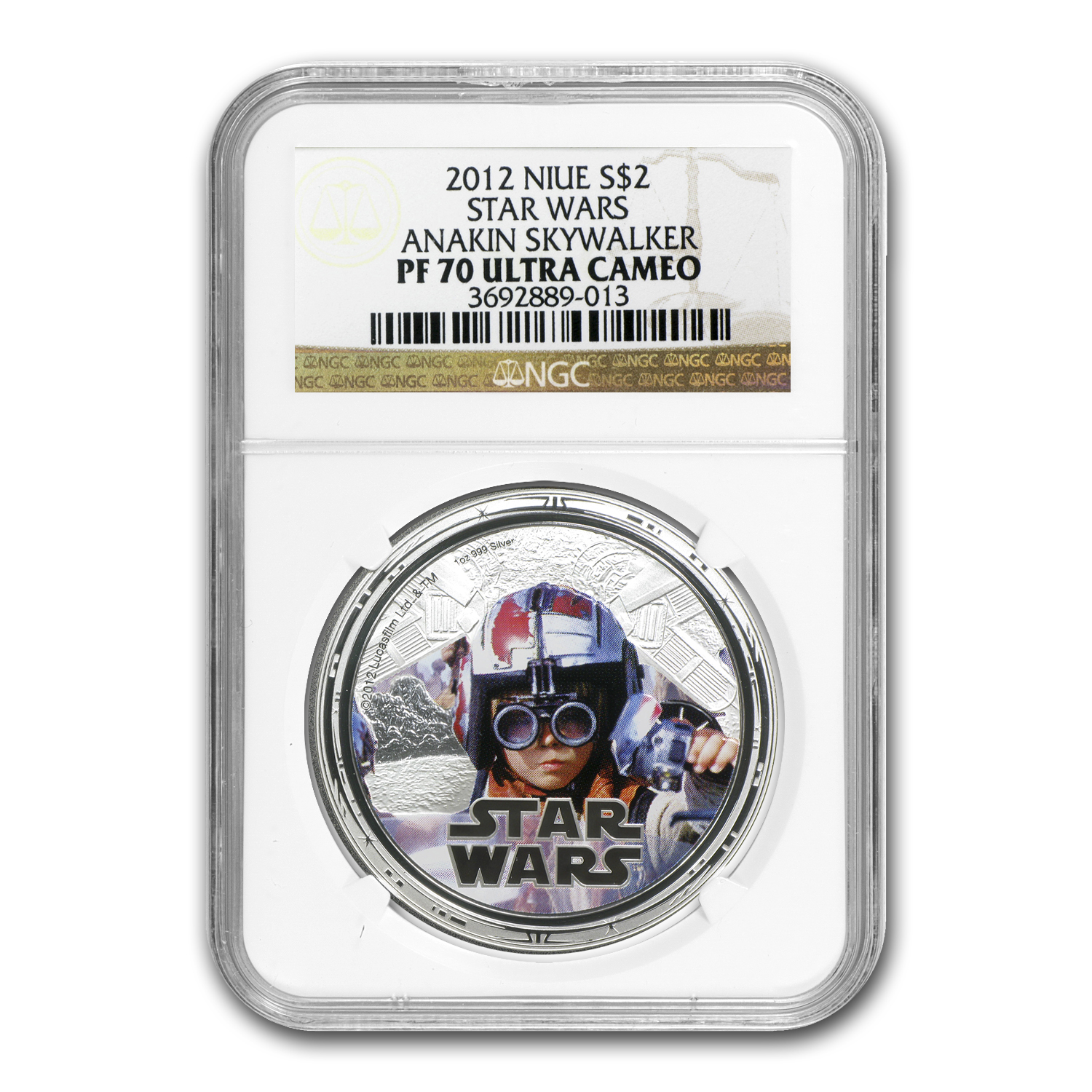 2012 1 oz Silver $2 Niue Star Wars Anakin Skywalker PF-70 NGC