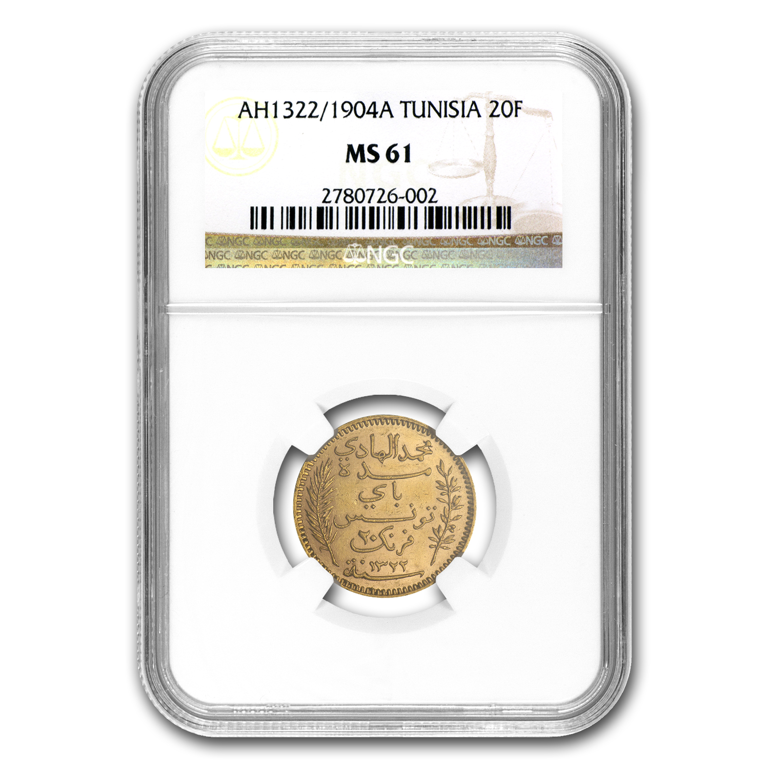 1904 Tunisia Gold 20 Francs MS-61 NGC