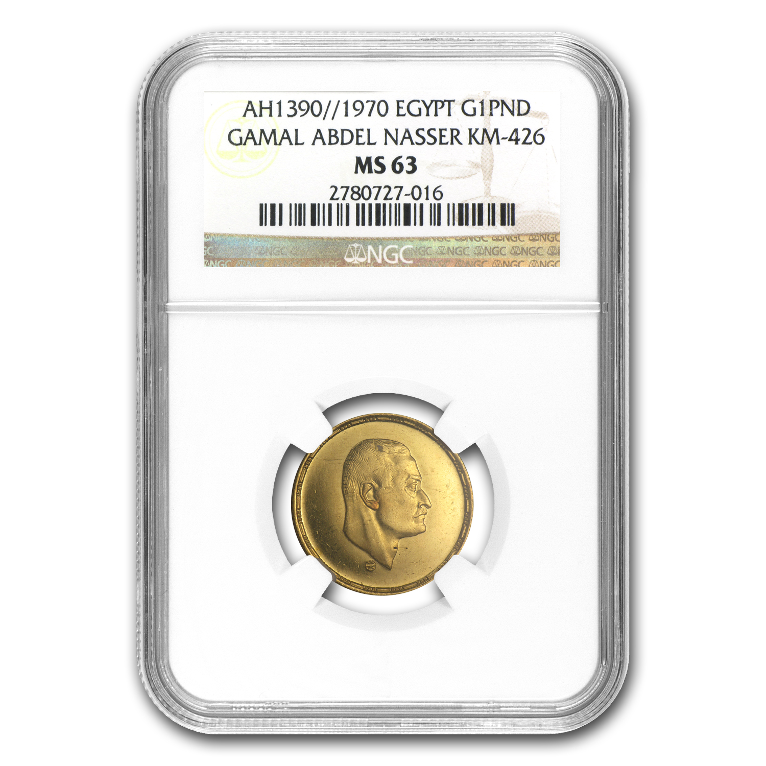 AH1390/1970 Egypt Gold Pound Nasser MS-63 NGC
