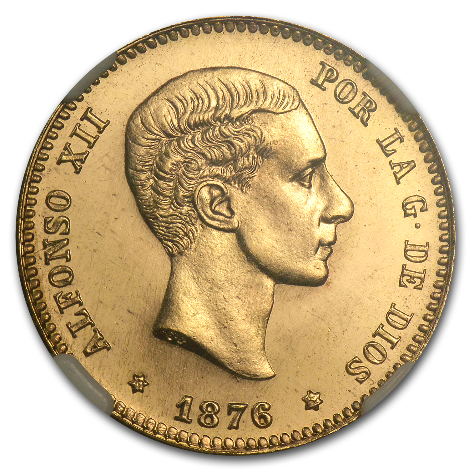 1876 Spain Gold 25 Pesetas Alfonso XII MS-66 NGC