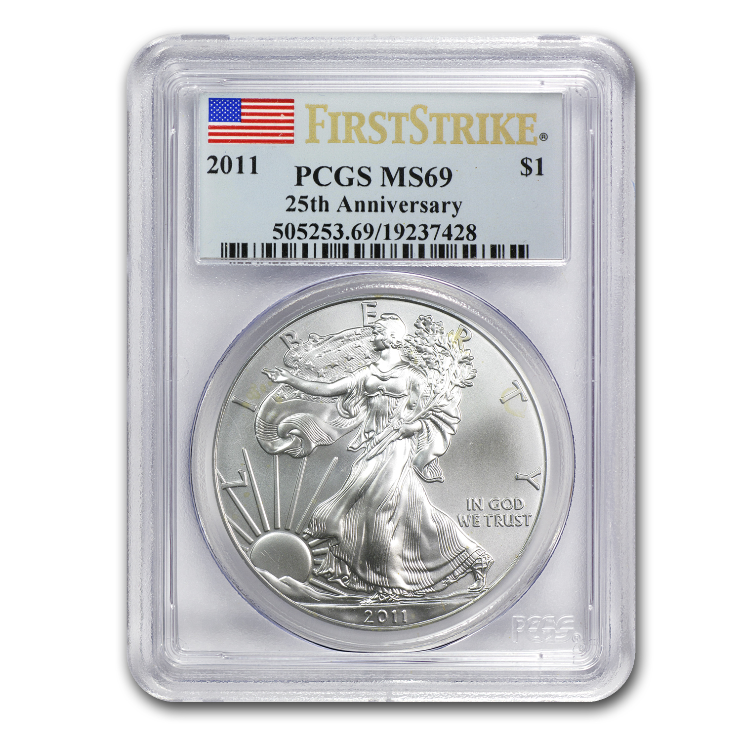 2011 Silver American Eagle MS-69 PCGS (FS, 25th Anniv)